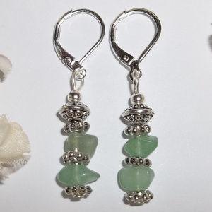 Green Adventurine Earring Set Dangle Drop NWT 4662